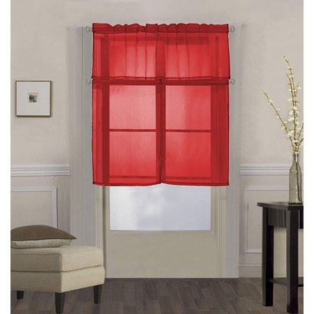 Solid Red Glass - Decotex 3 Piece Solid Sheer Voile Kitchen Window Curtain Tier & Valance Set (36