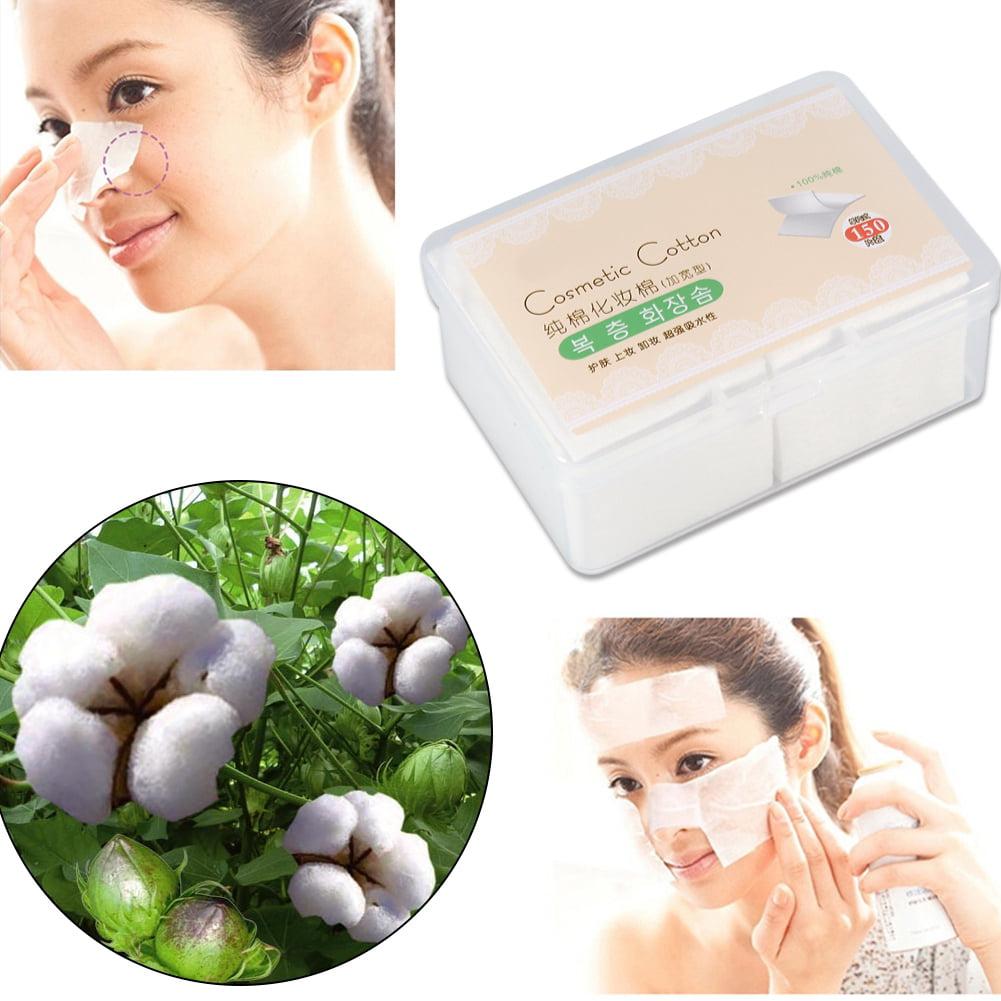 Tbest 150PCS Cosmetic Cotton Pads Facial Makeup Wipes Nail Art  Polish Gel Tips Remover & Box, Facial Cotton Pads, Cotton Makeup Remover