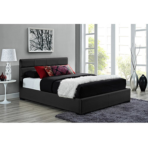 Modena Full Faux Leather Upholstered Bed with Headboard, Black