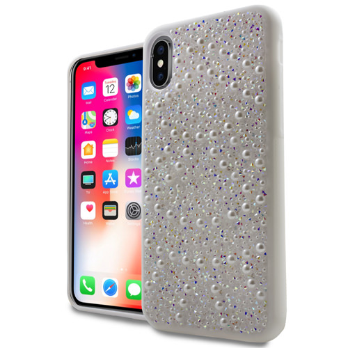 MUNDAZE Silver Luxury Pearls Diamond Case For Apple iPhone X Phone