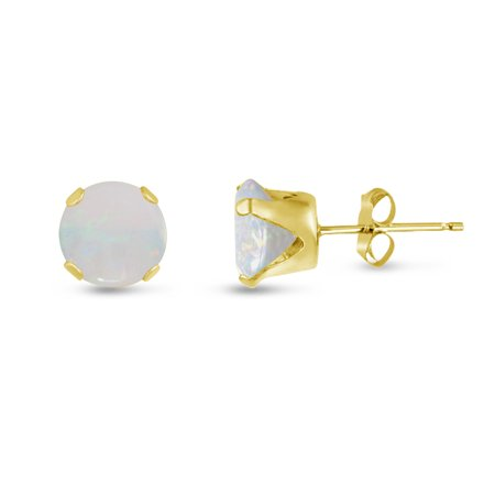 - Round 9mm 14k Gold Plated Sterling Silver Genuine Opal Stud Earrings, Free Gift Box included