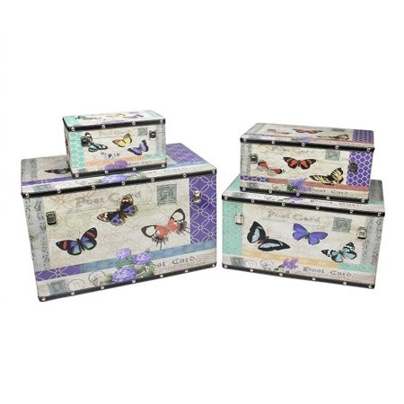 Set of 4 Wooden Garden-Style Butterfly Decorative Storage Boxes 14-27.5