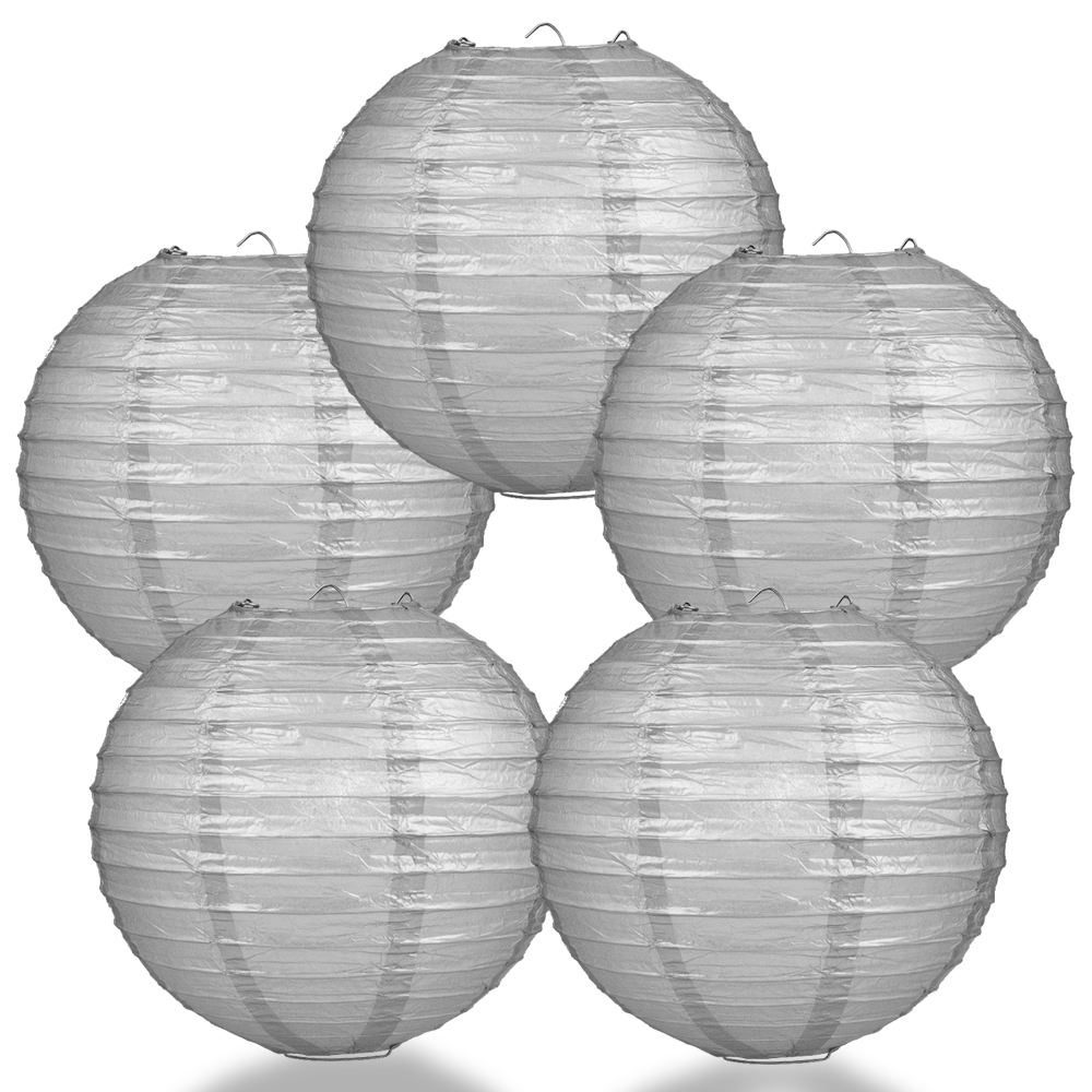 "Quasimoon (5-Pack) 8"" Silver Round Paper Lantern, Even Ribbing, Hanging Decoration"