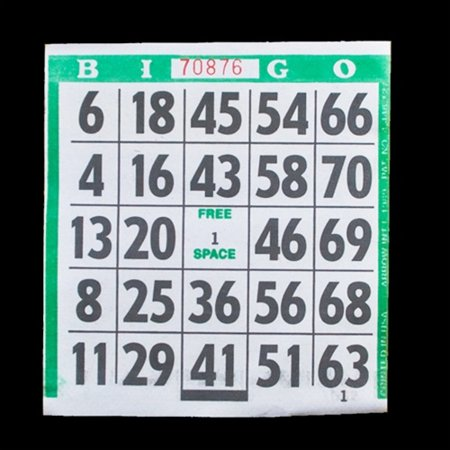 1 on Large Print Easy Read Bingo Paper Cards - Green - 500 cards