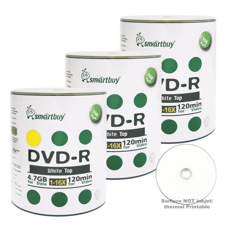 300 Pack Smartbuy 16X DVD-R 4.7GB 120Min White Top (Non-Printable) Data Blank Media Recordable Disc