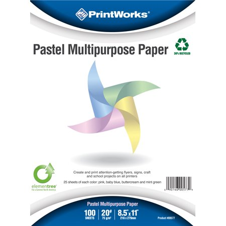 Printworks Pastel Paper, 20 lb, 4 Assorted Pastel Colors, 30% Recycled Color Printer Paper, 6 pack Bundle, 600 Sheets, 8.5 x 11 Inch (Recycled Pastel)