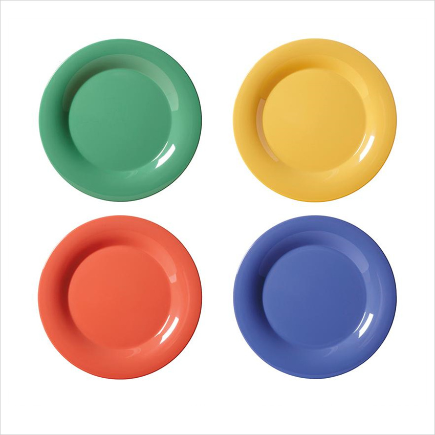 Diamond Mardi Gras 7.5 inch Wide Rim Plate Mix Pack of 4 Mardi Gras Colors Melamine/Case of 48