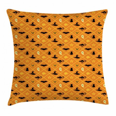 Ghost Throw Pillow Cushion Cover, Geometric Pattern of Halloween Symbols Cat Hat Bat Ghost Leaves Pumpkin, Decorative Square Accent Pillow Case, 18 X 18 Inches, Orange Black Pale Yellow, by - Black Cats Of Halloween English Cover