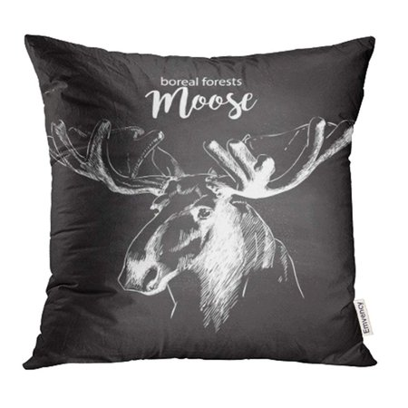 USART Moose Head Huge Antlers Sketch White Chalk Drawing on The Blackboard Pillowcase Cushion Cases 16x16 inch ()