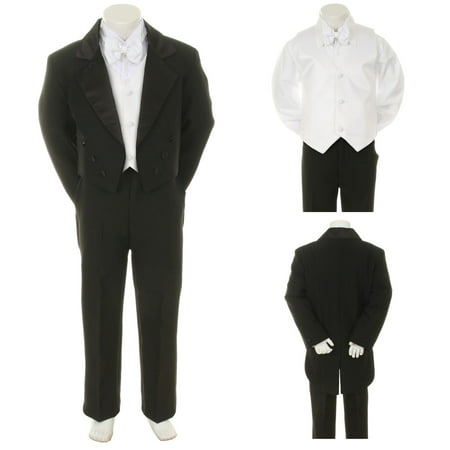 Black Wedding Formal Tuxedo Tail Suit 4 Baby, Toddler & Boy S M L XL 2T 3T 4T-20 - Tail Tuxedo