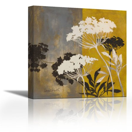 Silhouette Flowers II - Contemporary Fine Art Giclee on Canvas Gallery Wrap - wall décor - Art painting - 27 x 27 Inch - Ready to Hang