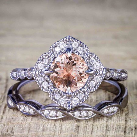 Black And Gold Wedding (Unique 2 Carat Morganite and Diamond Halo Wedding Ring Set for Her in Black)