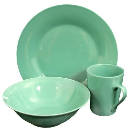Carlton 12 Peice Dinnerware Set in Teal - Teal Dinnerware