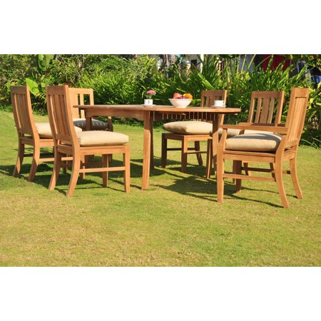 teak dining set 6 seater 7 pc 94 oval table 4 armless and 2