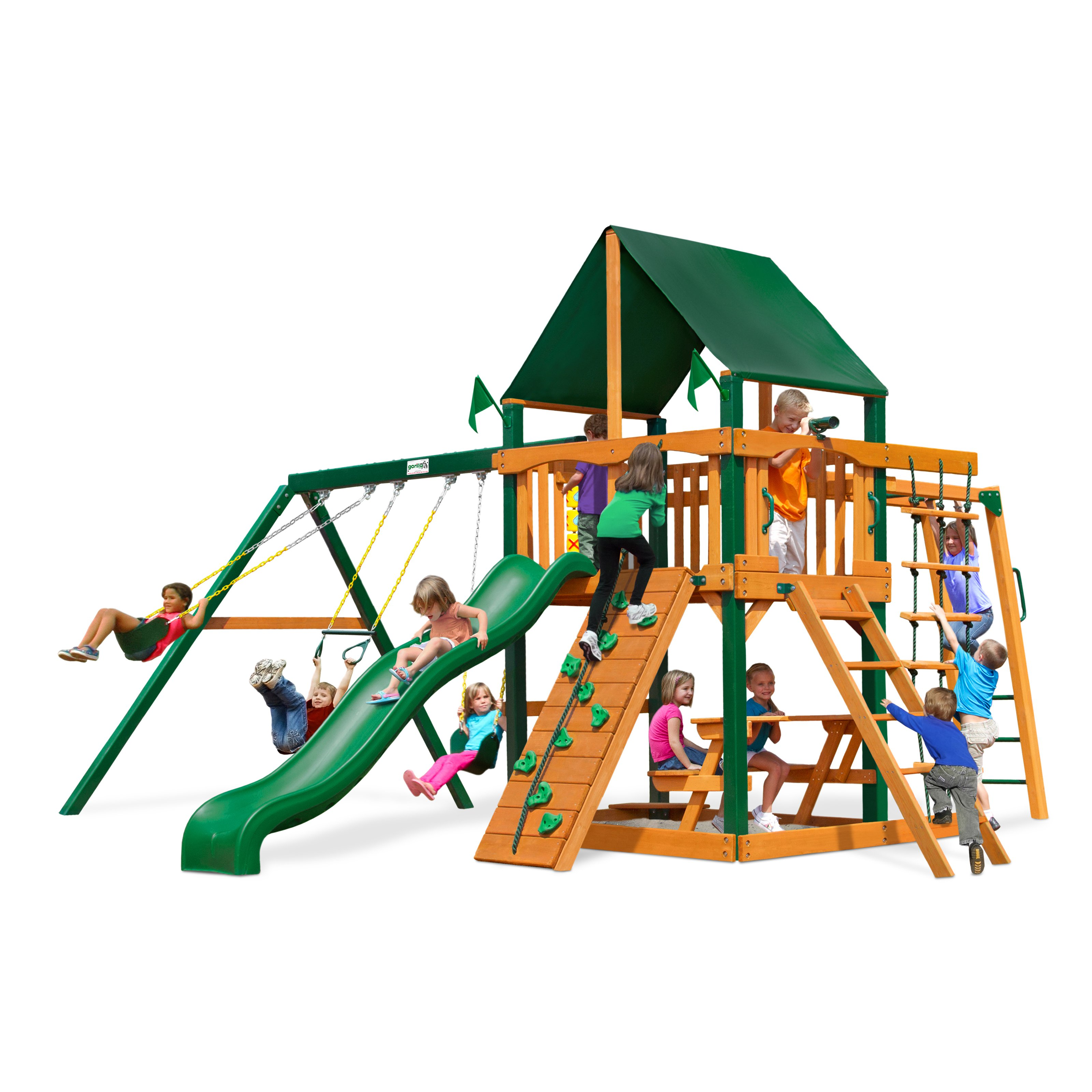 Gorilla Playsets Navigator Supreme Wood Swing Set with Sunbrella Canvas Green Canopy