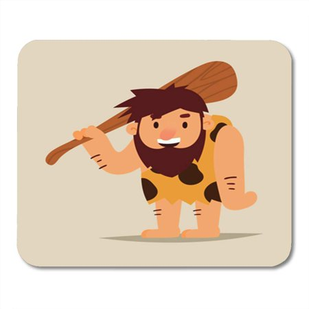 KDAGR Age Cartoon Caveman Club Stone Adult Barbarian Caves Character Mousepad Mouse Pad Mouse Mat 9x10 inch - Stone Age Caveman