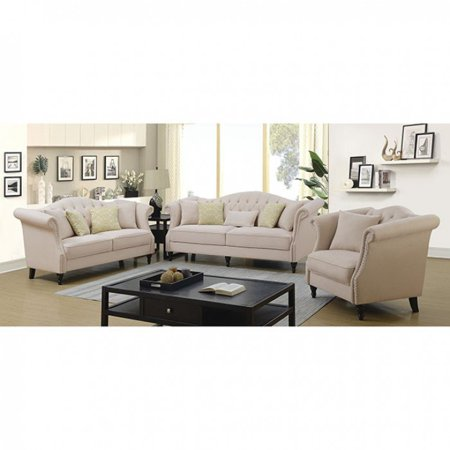 Transitional Design Beige Color Linen Fabric 3pc Sofa Set Living
