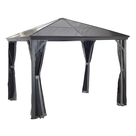 Sojag VERONA 10' x 10' Gazebo, Polycarbonate Roof & Mosquito Netting, Available in Multiple Sizes