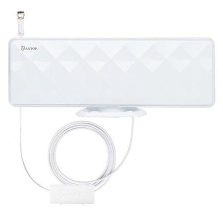 Piano White Flat-Panel TV Antenna with Inline Smart Pass Amplifier, 40 & 50 Mile Range - 4K UHD Ready (Range Relay)