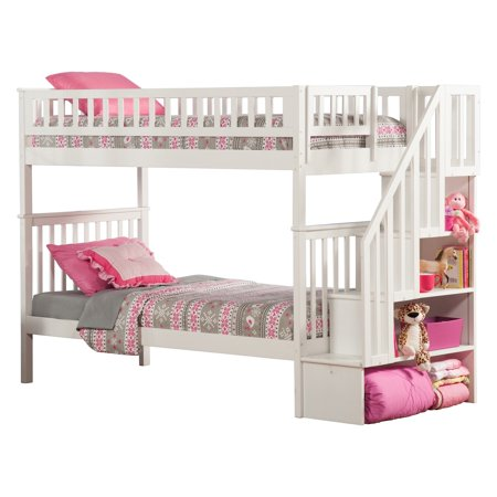 Woodland Twin Over Twin Staircase Bunk Bed Walmart Com