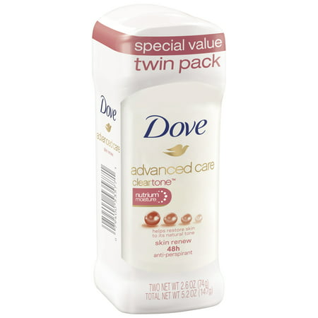 Dove Advanced Care Antiperspirant Skin Renew 2.6 oz, Twin Pack