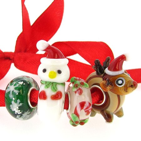 Queenberry Sterling Silver Christmas Spirit Reindeer Snowman Snowflake European Style Glass Bead Charms Set  Fits Pandora