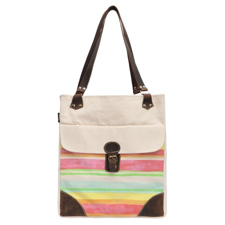 Striped Patterns-1 Beige Printed Canvas Leather Handle Shoulder Bags WAS_50