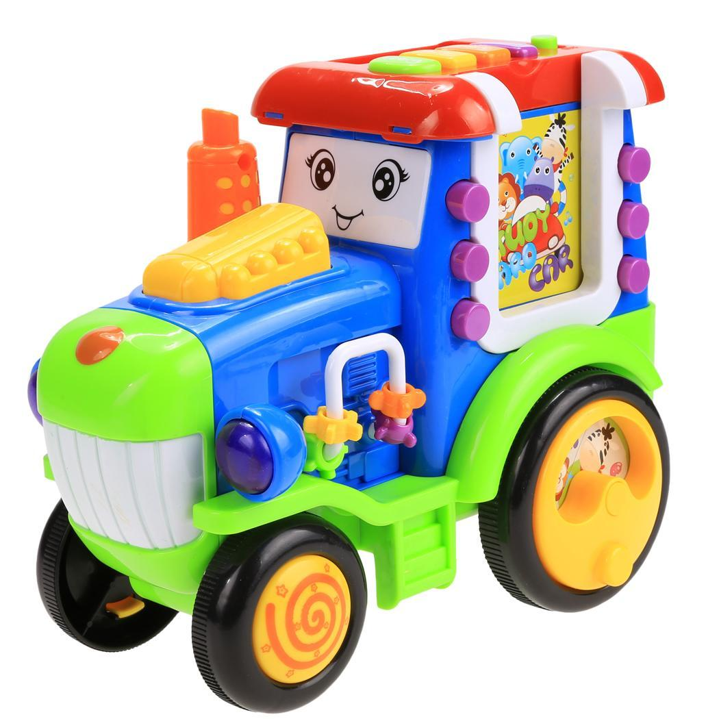 Baby Light Music Electric Train Reactor Pull Toy with Learning Educational Card HITC by Unbrand