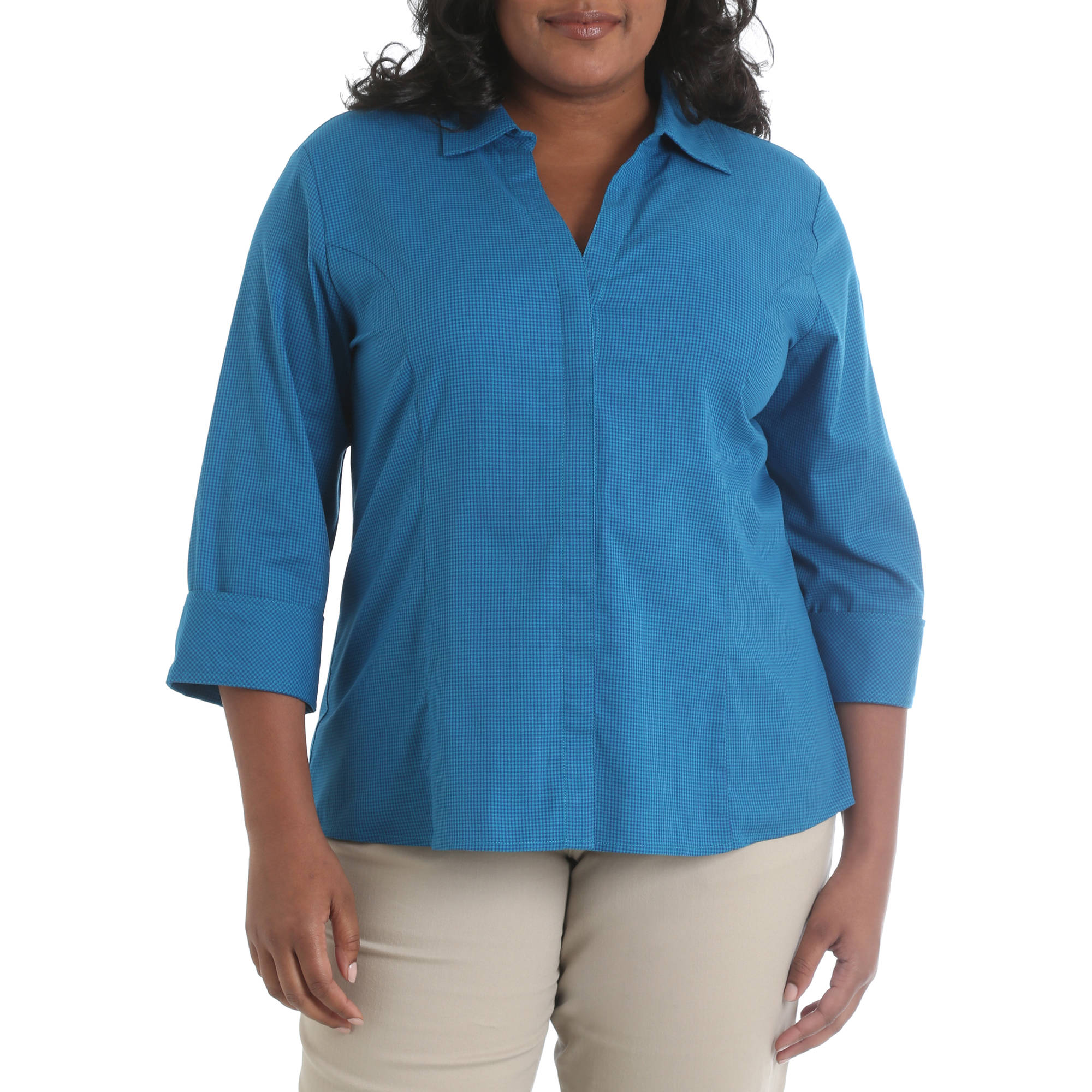 Riders by Lee Women's Plus Herringbone Classic Career Shirt