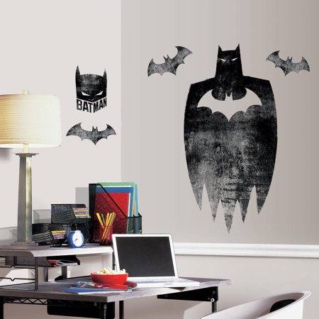 Roommates batman silhouette peel and stick giant wall for Peel and stick wallpaper walmart