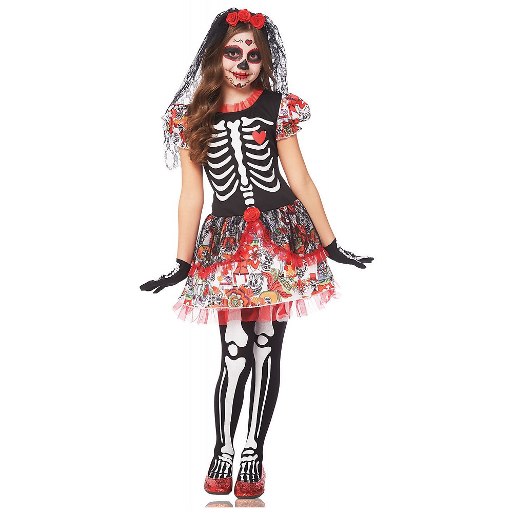 Day of Dead Skeleton Girl Kids Costume