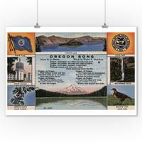 Oregon - Oregon State Flag, Seal, Capitol, Flower, Bird (9x12 Art Print, Wall Decor Travel Poster)