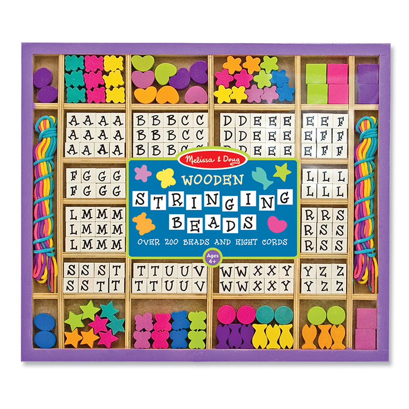 Melissa & Doug Deluxe Wooden Stringing Beads With 200+ Beads and 8 Laces for Jewelry-Making