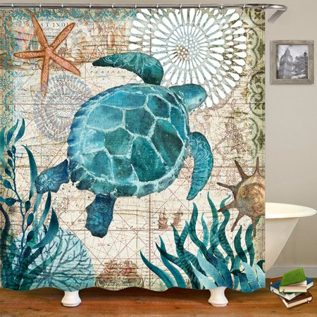 60x71 inch Waterproof Custom Bathroom Fabric Shower Curtain + 3 PCS Non-Slip Pedestal Rugs Toilet Seat Lid Cover Set Blue Tortoise - Tortoise Pedestal