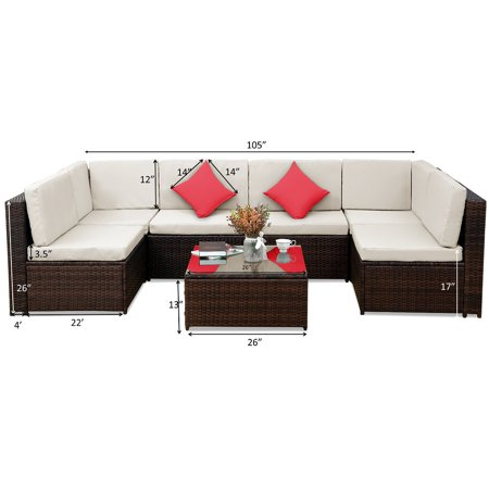 CLEARANCE! Outdoor Patio Furniture Sets, SEGMART 7 Pieces Outdoor Wicker Patio Furniture Set with Seat Cushions, Tempered Glass Coffee & 2 Pillows, Conversation Sets for Porch Poolside Backyard, S5168 ()