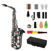 Muslady Professional Brass Bend Eb E-flat Alto Saxophone Sax Black Nickel Plating Keys with Carrying Case Gloves Cleaning Cloth Straps Grease Brush