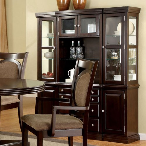 Evelyn Traditional Style Dark Walnut Finish Formal Dining China Cabinet Hutch by