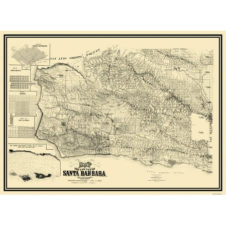 Santa Barbara California Map.Old County Map Santa Barbara California Landowner 1889 31 63 X 23