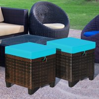 Goplus 2-Piece Patio Rattan Ottoman Cushioned Seat Foot Rest Coffee Table Blue
