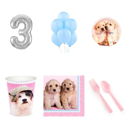 Rachael Hale Glamour Dogs 3rd Birthday Party Supplies Pack For 16 (Party Supplies For Dogs Birthday)