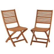Set of 2 Camel Brown Eucalyptus Grandis Wood Folding Chairs