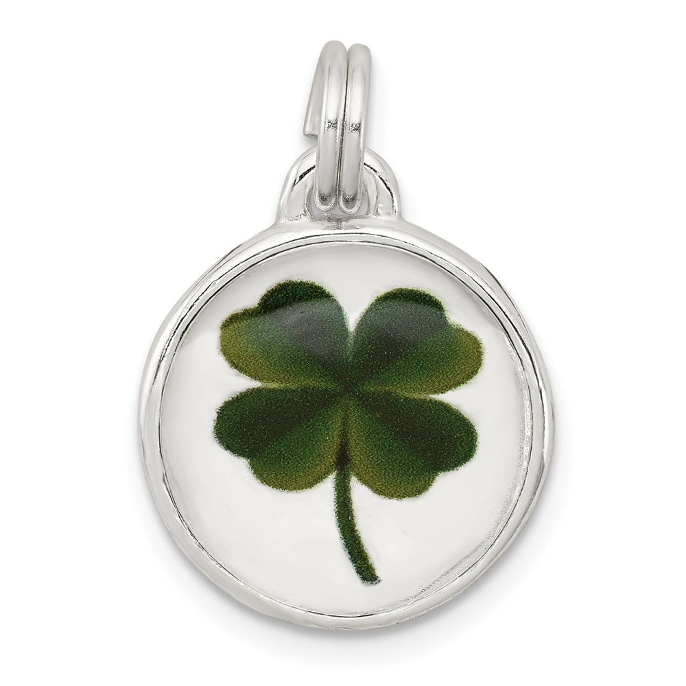 Sterling Silver 4-Leaf Clover Charm (0.9in long x 0.6in wide)