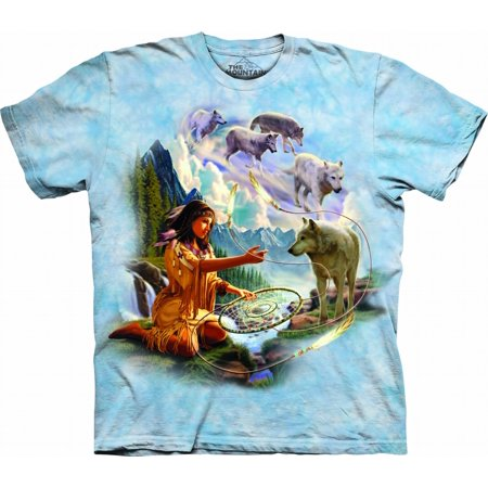 Blue 100% Cotton Dreams Of The Wolf Spirit T-Shirt](Wolf Spirit)