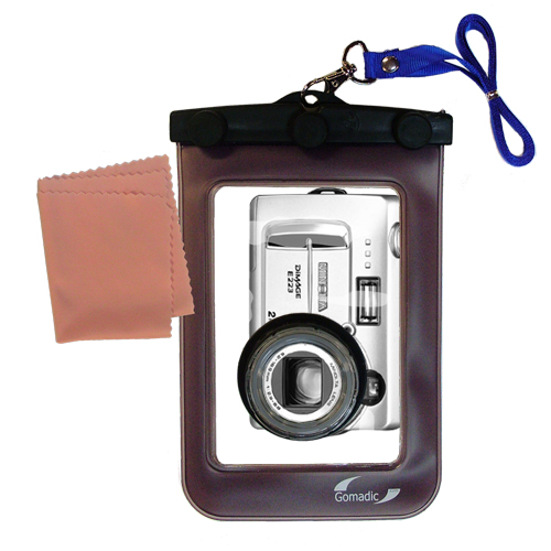 Gomadic Waterproof Camera Protective Bag suitable for the Minolta DiMAGE E223 - Unique Floating Design Keeps Camera Clean and Dry
