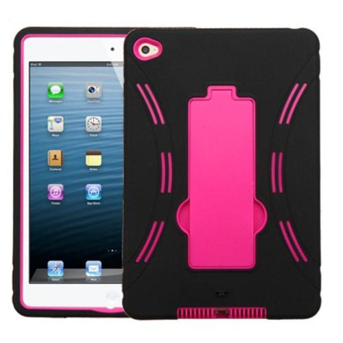 Insten Symbiosis Skin Hybrid Rubber Hard Cover Case with Stand For Apple iPad Mini 4 - Black/Hot Pink
