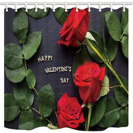 BSDHOME Valentine's Day Giftfor Red Rose Flower with Leaves in Black for Lover Polyester Fabric Bathroom Shower Curtain 66x72 inches - image 1 of 1