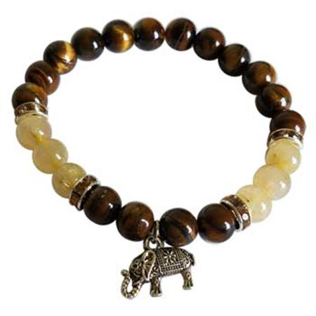 RBI Jewelry Spiritual Supplies 8mm Tiger Eye Rutilated Quartz with Elephant Bracelet
