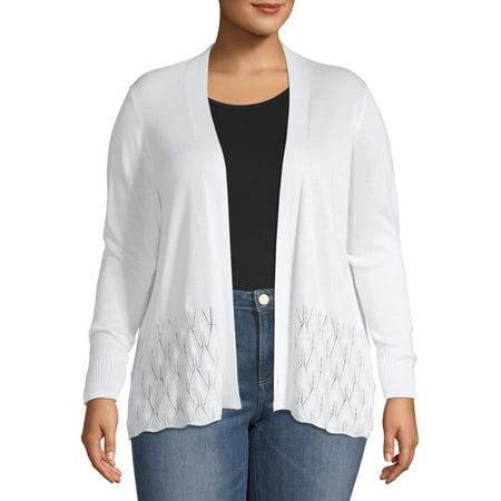 Women's Plus Size Pointelle Stitch Cardigan