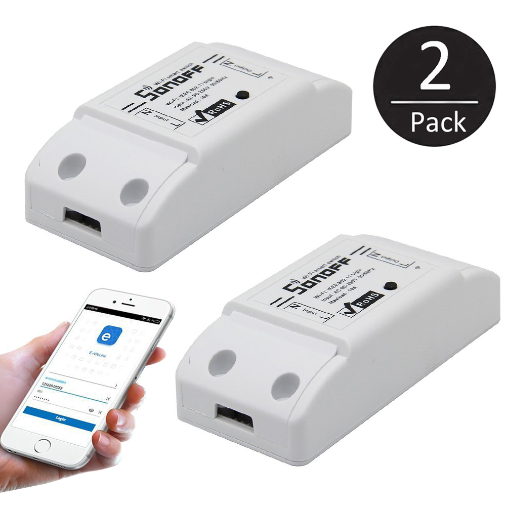2-pack Smart Wifi Wireless Switch Module, Smartphone Home Timer Remote Controller for iOS Android