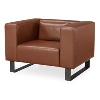 MoDRN Refined Industrial Atoll Metal Base Lounge Chair, Multiple Colors